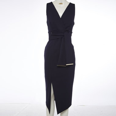 a_mannequin_wearing_Long_black_gown