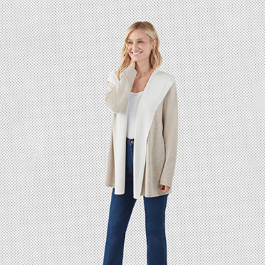 making_completed_of_a_model_splendid_two-tone_hooded_cardigan