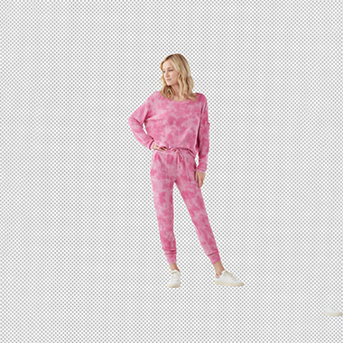 model_wearing_pink_jump_suit_and_hair_masked_in_transparent_background