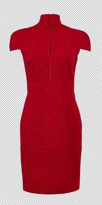 Ghost Mannequin service for red dress by Clipping path zone