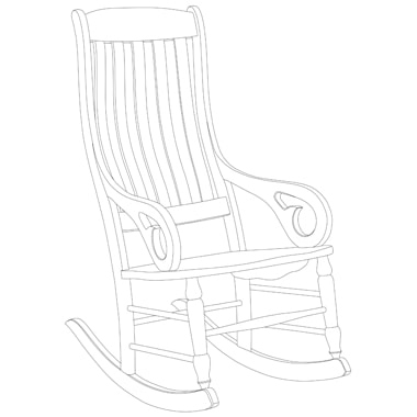 Vector Conversion of slat back rocker with carving by Clipping path zone