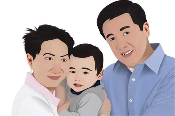 Vector Drawing services of a family photo by Clipping path zone
