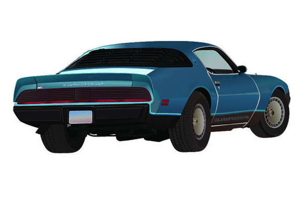 Vector drawing for pontiac firebird car by clipping path zone